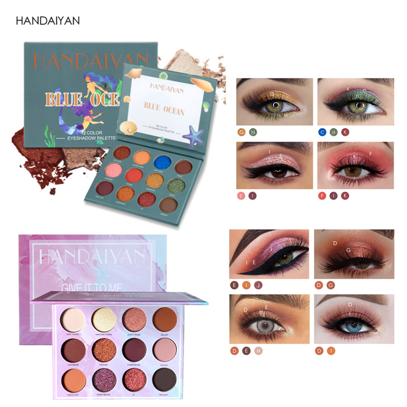 HANDAIYAN 12 Color Matte Eyeshadow Pallete Waterproof Shimmer Makeup Pallete paleta de sombra maquillage facial girl's gift