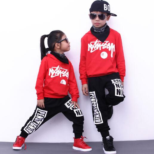 Children Hip Hop Clothing Set Autumn Girls Sports Suits Boys Street Dance Clothes Outfit Kids Hoodies & Pants 2 Pcs Sets autumn winter boys girls clothes sets sports suits children warm clothing kids cartoon jacket pants long sleeved christmas suit