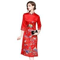 Alta Moda de Estilo Chino Cheongsam Bordado Vestido de 2017 Nuevo Otoño de Las Mujeres Elegantes Vestidos de Señora Media Pantorrilla Vestido de Fiesta de La Vendimia