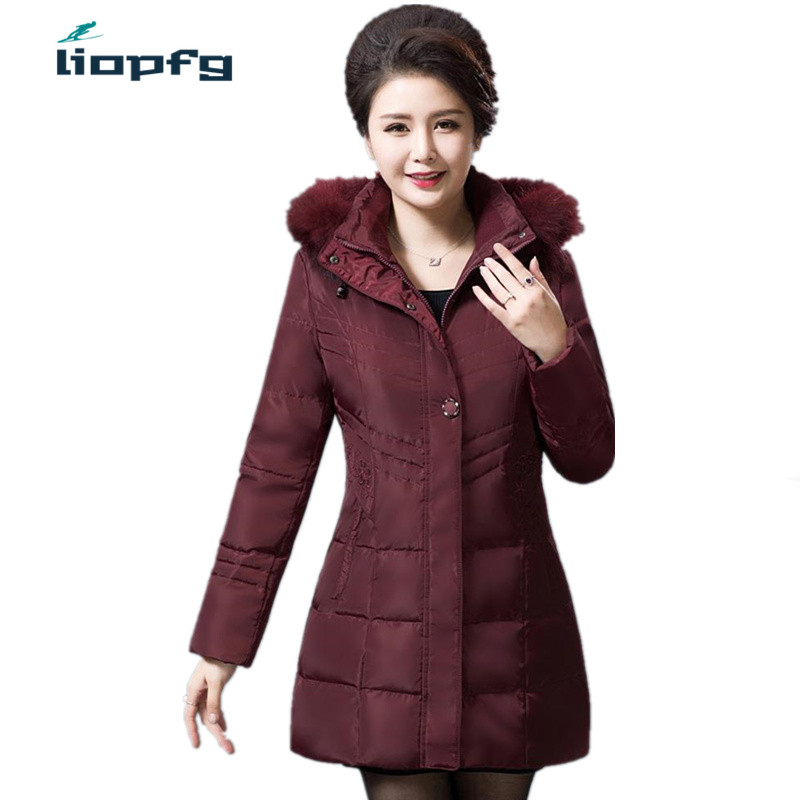 Large Size Mama Winter Lady Coat Jacket In The Long Paragraph Thickening Warm Cover Girl Loose Fashion Lady Cotton 5XL WM438 the little old lady in saint tropez