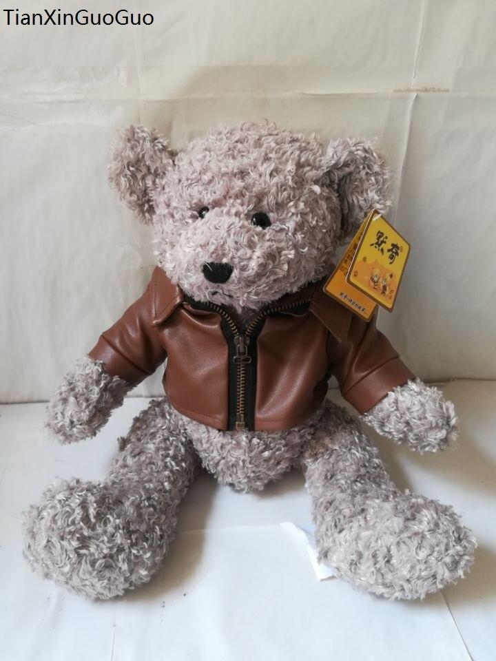 large 35cm lovely gray teddy bear plush toy dressed PU coat bear soft doll throw pillow Christmas gift s2225 huge 120cm lovely gaint panda plush toy soft doll throw pillow christmas gift b1475