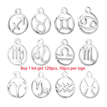 10sets 120pcs/lot Wholesale Zodiac Charm DIY Constellations Jewelry Accessories 10pcs Per Sign, Original Stainless Steel Pendant