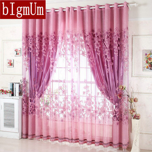 Window Treatment Luxury Curtains+Tulle Beads Purple Brown 100% Blackout Ready  Made Curtain For