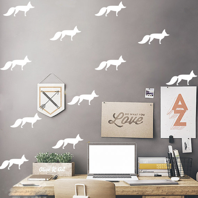 12pcs Set Little Fox Vinyl Wall Decal Home Decor Bedroom Diy Art Mural Wallpaper Removable