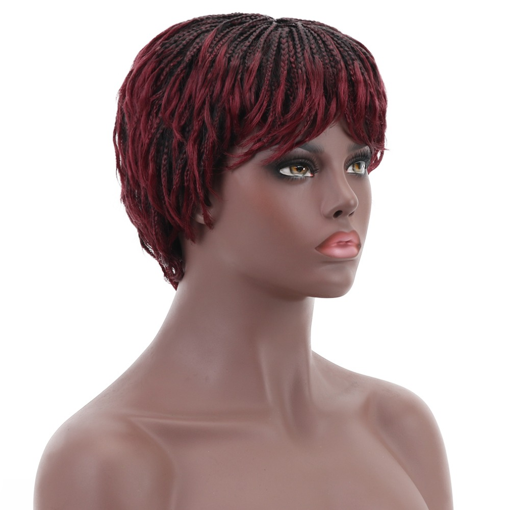 12'' Short Braided Box Braids Wigs for Black Women Synthetic Hair Cosplay African American Women's Wig With Bangs Heat Resistant-in Synthetic None-Lace  Wigs from Hair Extensions & Wigs