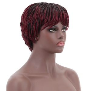 Image 2 - 12 Short Braided Box Braids Wigs for Black Women Synthetic Hair Cosplay African American Womens Wig With Bangs Heat Resistant