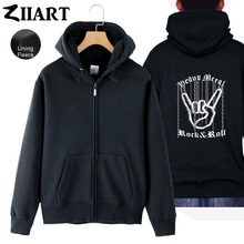 Chain Hand Gesture Heavy Metal Rock N Roll Corna Devils Horns  Woman Full Zip Fleece Hooded Coat Jackets Autumn Winter ZIIART