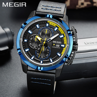 MEGIR New Style Blue Quartz Mens watches Genuine Leather Sport Wirst Watch Men Students Game Run Chronograph Military Watch Male