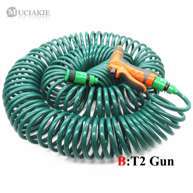30M (100FT) Spring Hose Retractable No Knot Telephone Line Style Garden Watering Irrigation Car Washing Hose W/ Quick Connector