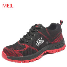 Men Safety Shoes Plus Size Unisex Outdoor Steel Toe Shoes Puncture Proof Protective Safety Boots Casual Work Shoes Men Sneakers safety shoes men work steel toe breathable boots men s fashion casual safety shoe boots puncture proof protective footwear