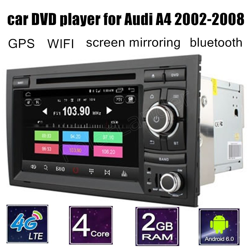 7 inch 2 din Car DVD Player GPS Touch Screen Radio Bluetooth for Audi A4 2002 2008 support rear camera