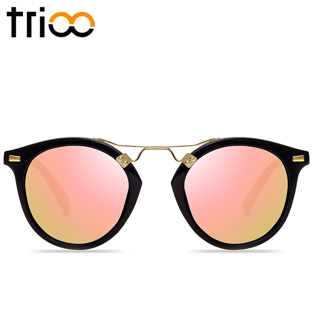 TRIOO Flower Frame Ladies Sunglasses With Original Box Special Designer Oval Shades UV400 Protective Reflective Lens Sun Glasses