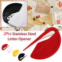 YUJUSER 2Pcs Black/Red/Yellow/White Stainless Steel Letter Envelope Opener Package Slitters Cutting Supplies for Home Office