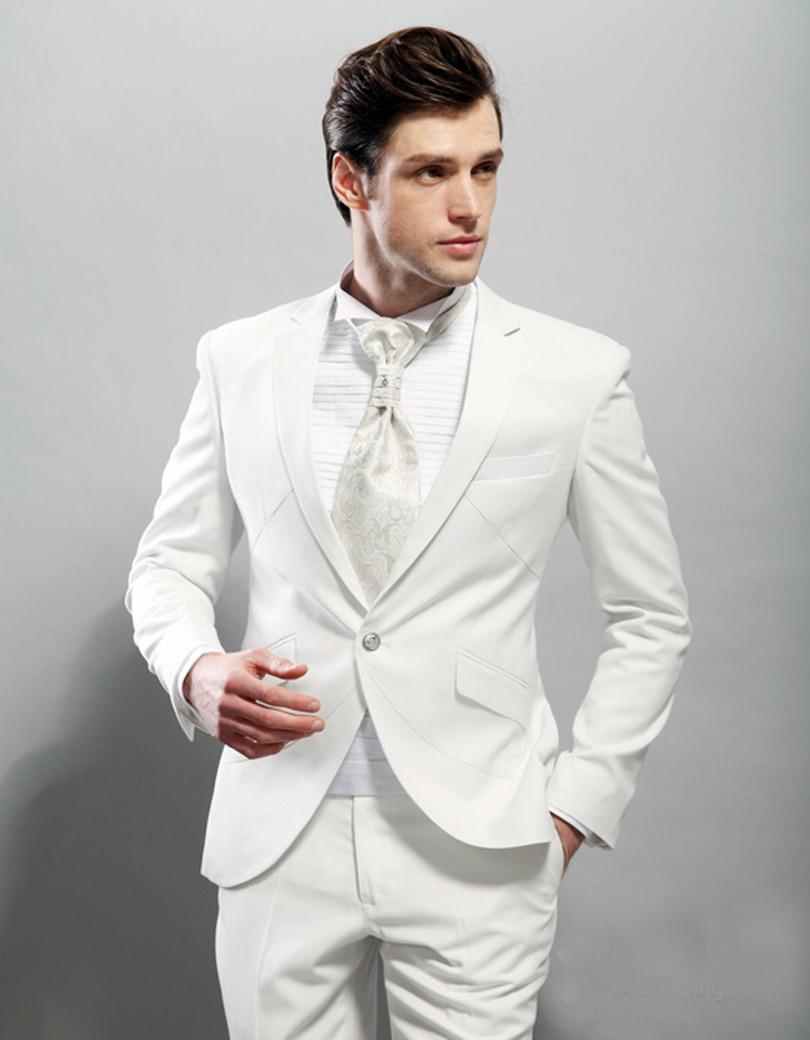 2017 Handsome Italian Style White Groom Tuxedos 2 Piece ...