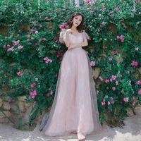 Vestito Dalla donna di Lunghezza Del Pavimento Del Merletto Vestiti Da Alta Wasit Con Scollo A V Vintage Rosa di Tulle del merletto Vestiti Sexy Petalo Manica Lunga Rosa vestito