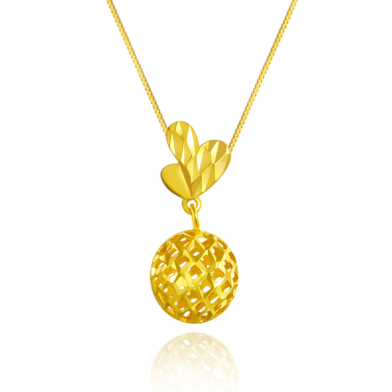 New Arrival AU750 Yellow Gold Pendant Women Hollow Ball Necklace Pendant stylish 7 hollow stereo circles pendant necklace