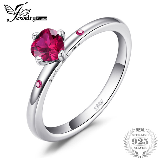 Jewelrypalace 925 Sterling Silver Love Scarlet Zircon Engagement Rings For Women/Girls Gifts Fine Jewelry