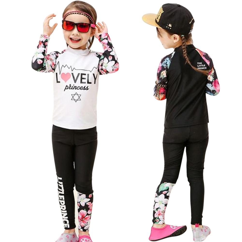 2pcs Kids Girls Boys Long-sleeved Swimming Suit Muslim Style Swimsuit Floral Summer Beach Clothing Sun Protective Swimwear 4XL