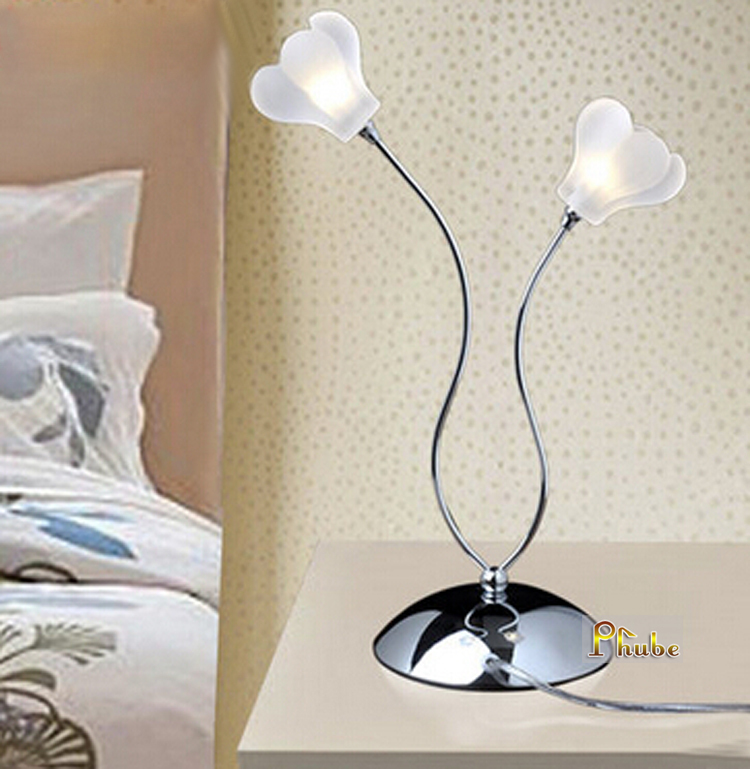 Nordic Modern Table Lamp Glass Flower Table Lamp Desk Lamp Used in Bedroom nightstand office +Free shipping! free shipping modern dining table designs discount lamp shades