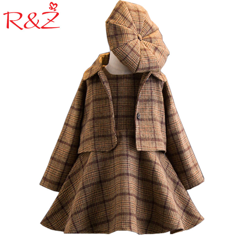 R&Z Girls Clothing Sets 2017 Autumn and Winter Single-breasted O-Neck Jacket+Pure Color Dress+Hat 3PCS Children's Clothes Suits