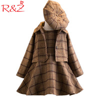 R&Z Girls Clothing Sets 2017 Autumn and Winter Single breasted O Neck Jacket+Pure Color Dress+Hat 3PCS Children's Clothes Suits