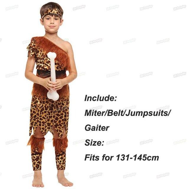 Disfraz de salvaje Original de hombre de las cavernas para niños y niñas disfraz de Cosplay para niños Halloween Navidad