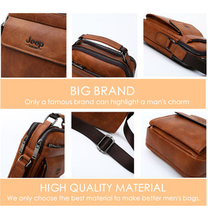 Image 5 - JEEP BULUO Men Shoulder Bags High Quality Handbags Mans Messenger Bag Fashion Split Leather For Men Tote 2019 New 2PC/Set