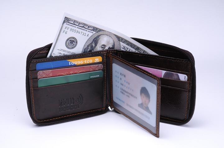 MRF9 модный мужской кошелек на молнии RFID Блокировка ID кредитный держатель для карт Топ Зерно натуральная коровья кожа мужской кошелек с карманом - Цвет: brown