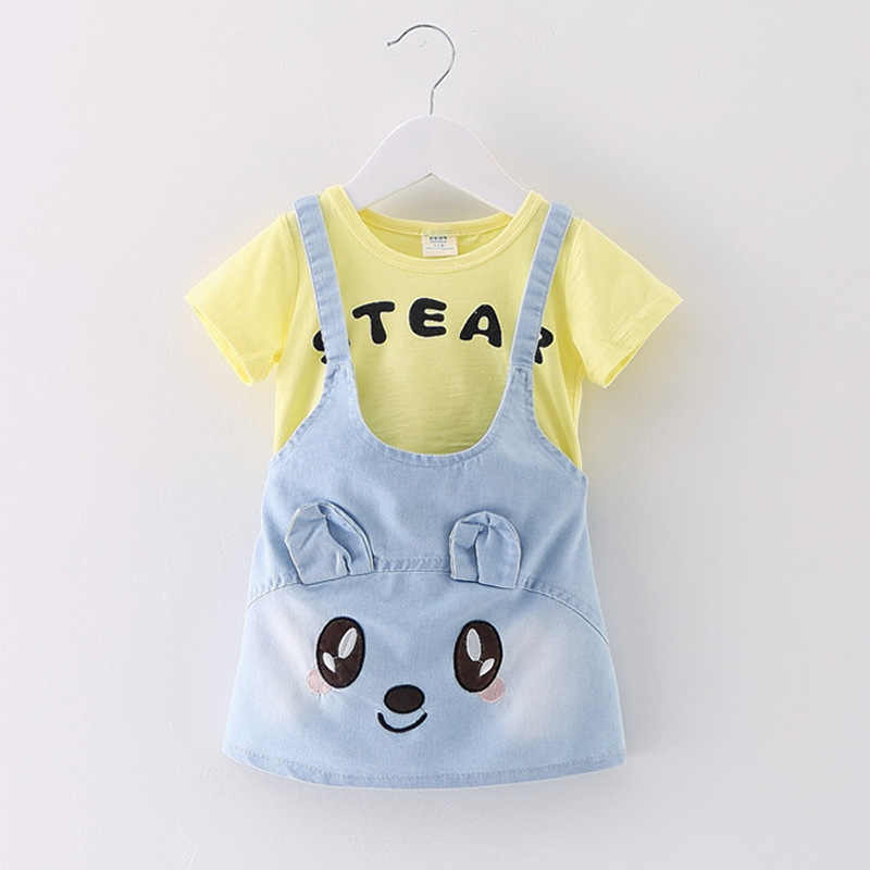 20872e4580ad6 GEMTOT 2018 Girls Baby Clothes Girls Suit Short-sleeved T-shirt + Strap  Denim dress Cartoon Kitten Letters Summer Wild Hot k1