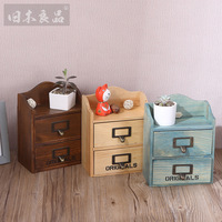 Staygold Zakka Double Layer Mini Storage Cabinet Drawer Type Container Woody Drawer Storage Layers Drawer Storage Cabinet
