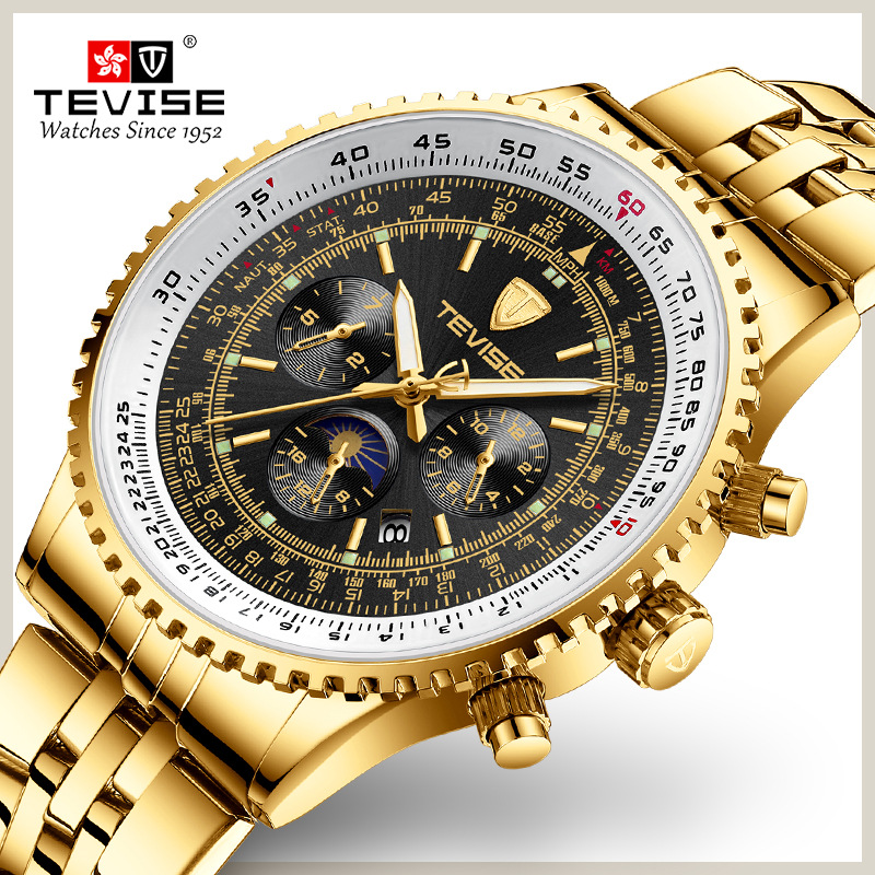 Tevise Automatic Mechanical Men's Watches Luxury Golden Brand Sport Men Self-winding Watches Male Wrist Watch Relogio Masculino