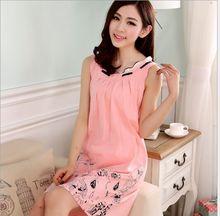 New 100% cotton nightgowns for women girl wide vest nightgown summer cotton sleep dress sleepshirt 8631