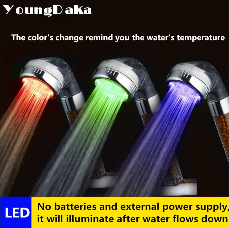 Bathroom Accessories ,Temperature Sensor Led Light Shower Heads Negative Ion SPA Shower Filter Water-Saving Head Douche