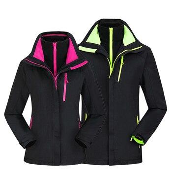 Outdoor Women Waterproof 3 In 1 Hiking Softshell Jackets Mens Breathable Fleece Coats Trekking Clothing Hunting Climbing Jackets