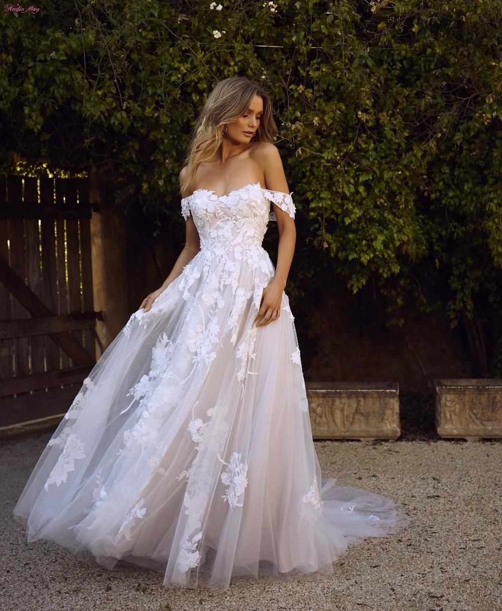 Rustic Boho Lace Beach Wedding Dress 2019 Vintage 3D