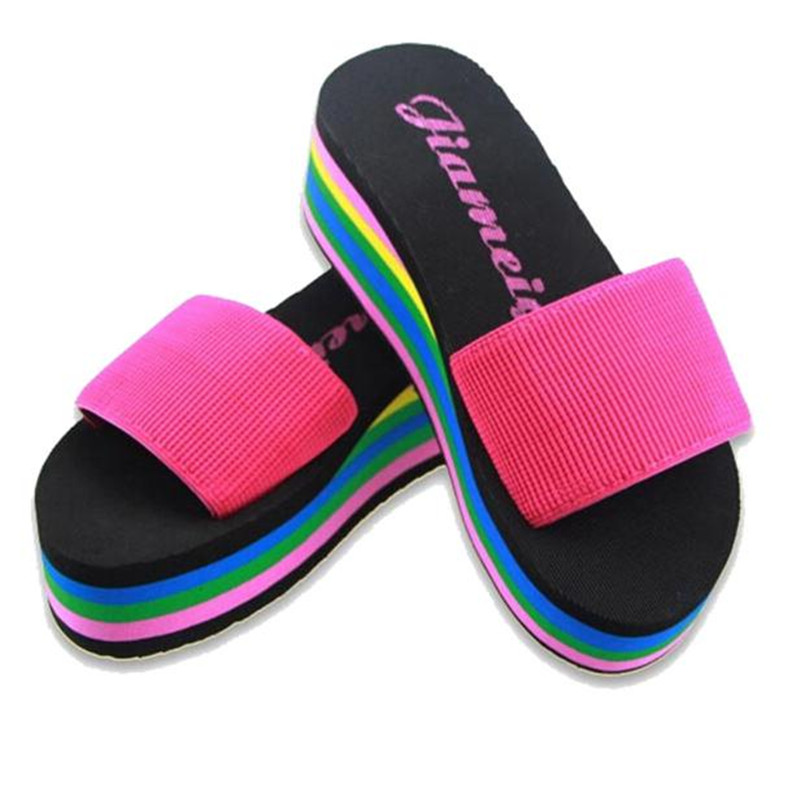 Summer Women Shoes Non-slip Slippers Women Flip-flop Rainbow Sandals Platform Indoor Flip Flops Slippers Sandals bohemian rhinestones and flip flop design sandals for women