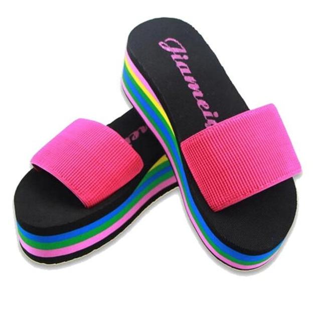 486483710a3ce4 Summer Women Shoes Non-slip Slippers Women Flip-flop Rainbow Sandals  Platform Indoor Flip Flops Slippers Sandals