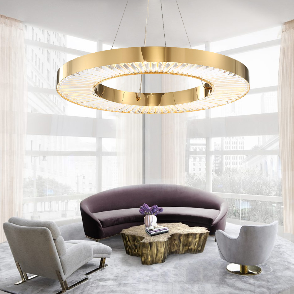 Circle LED Chandelier Lighting For Living Room Gold Modern Crystal Lamp Bedroom Polished Steel Ring