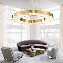Youlaike круглый светодиодный люстра освещение для гостиной Золотая Современная хрустальная лампа для спальни полированное стальное кольцо люстры