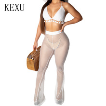 KEXU White Two Pieces Sets Deep V-neck Halter Top+see Through Pants Summer Sexy Hollow Out Grid Playsuits Femme Beach Jumpsuits sexy white see through fishnet playsuits