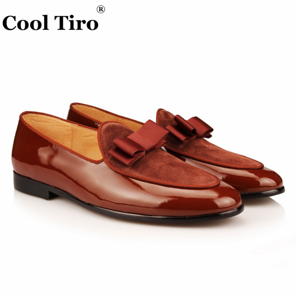 COOL TIRO Handmade Moccasins Black Patent leather And velvet Stitching With Bow Tie Men Wedding Dress Shoes Banquet Loafer handmade violin fiddle high quality stringed musical instrument violino 4 4 maple violino with violin bow case for beginner