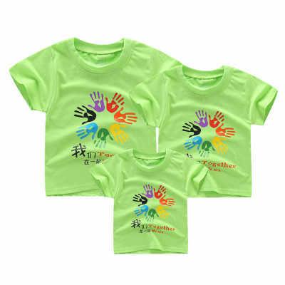 Famiglia look estivo mamma figlio camicia di corrispondenza abiti madre figlia del padre t shirt stampa capretti breve top a maniche lunghe vestiti dei ragazzi