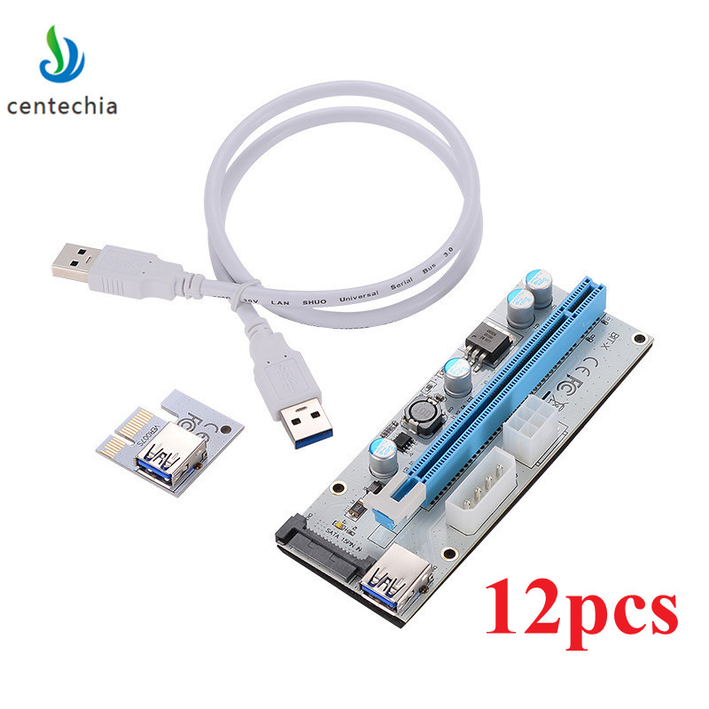 12 pacco VER008S Bianco 3 in 1 pin sata PCI-E Express 1X 4x 8x 16x Extender Pci e USB Riser 008 S Scheda Adattatore Per BTC Mining