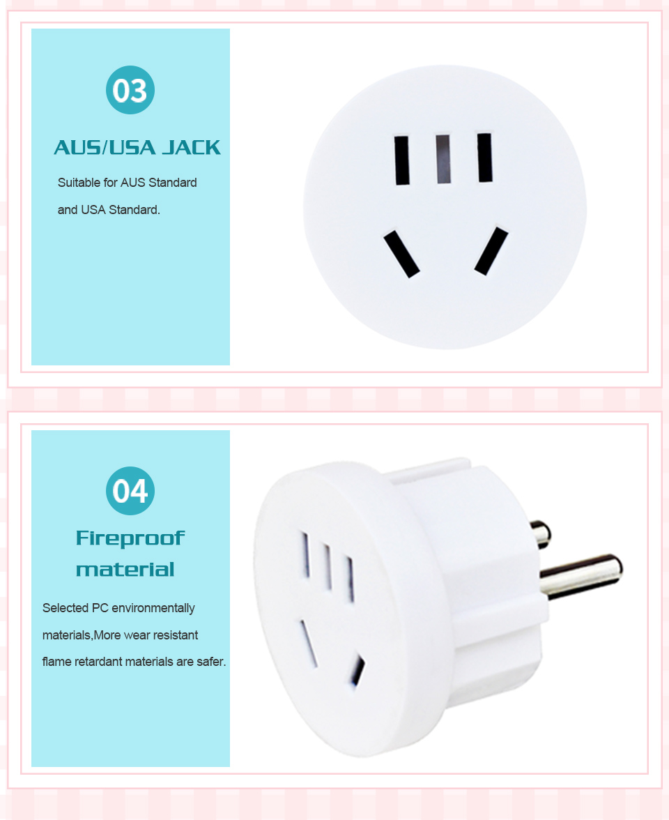 1PC US AU To EU Plug USA AUS To Euro Europe Travel Wall AC Power Plug Wall Charger Outlet Adapter Converter 2 Round Pin Socket (8)