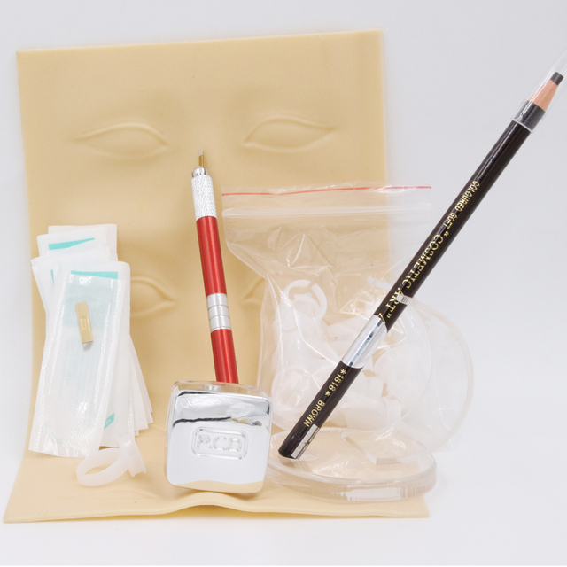 Professional beginner beauty use permanent makeup microblading kit with tattoo paste and manual pen/10pcs blades free shipping