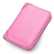 Fashion Zipper Rfid Card Holder Cow Leather Cardholder Case Men Women Mini Pocket Card Bag Pouch