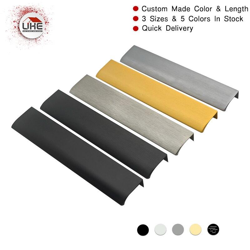 UKE 8 INCH Modern Simple Cabinet Door Brass Edge Pull Handles For Furniture