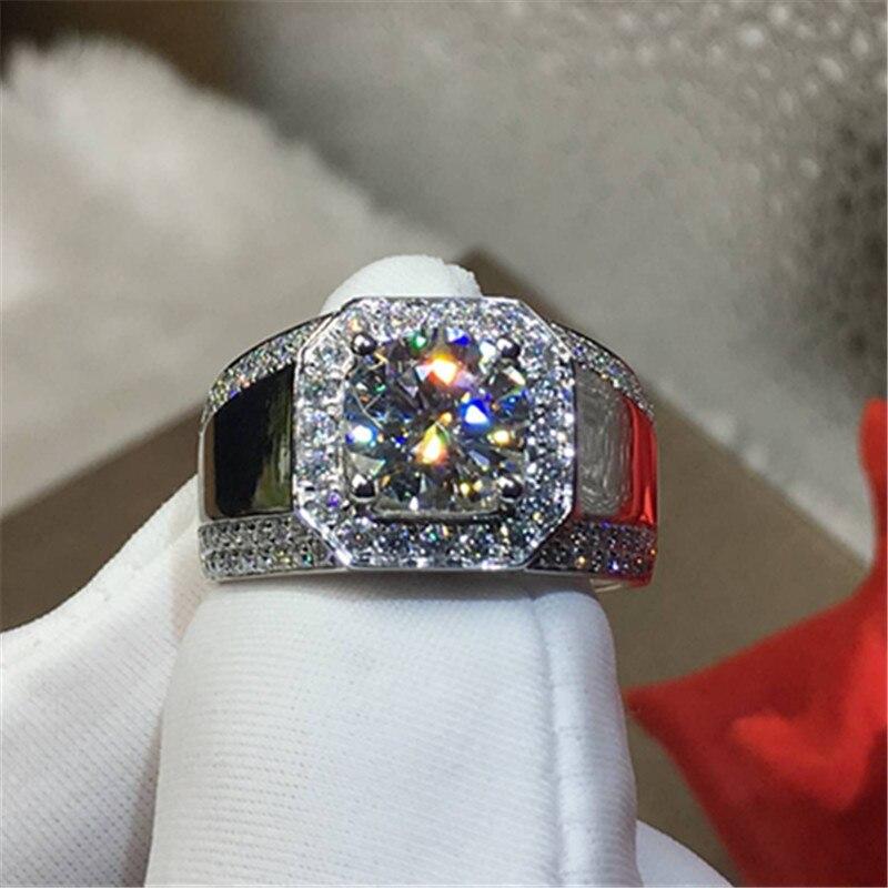 100% 18 k 750Au Gold Moissanite Diamond man Ring D kleur VVS Met nationale certificaat MO 0011-in Ringen van Sieraden & accessoires op  Groep 3