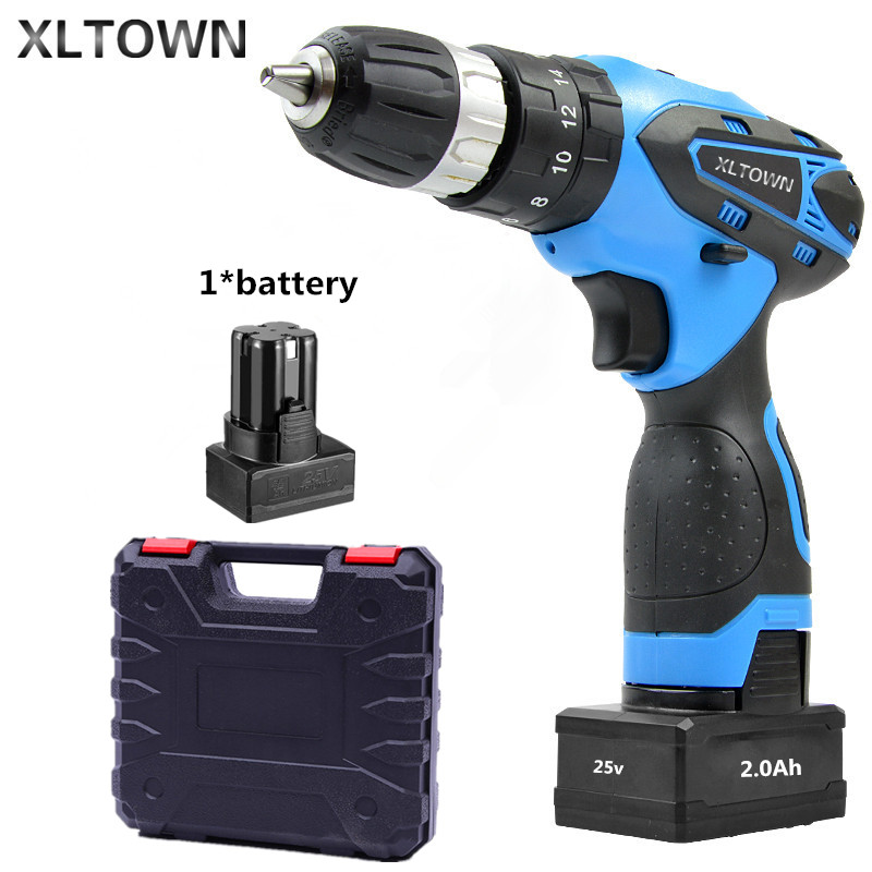 цена на XLTOWN 25V 2000mA Impact Drill with a box Rechargeable Lithium Battery Multifunction Electric Screwdriver Household Power Tools