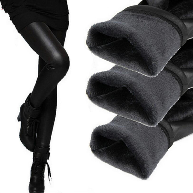 New 2020 Thickening Black Leather Boots Leggings Skinny Pants Winter Warm Women's Trousers Winter Pants For Women High Quality